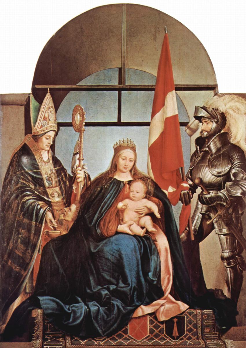 Ганс Гольбейн Младший. Алтарь Герстера. Мадонна на троне, слева св. Николай Мирликийский, справа св. Урс