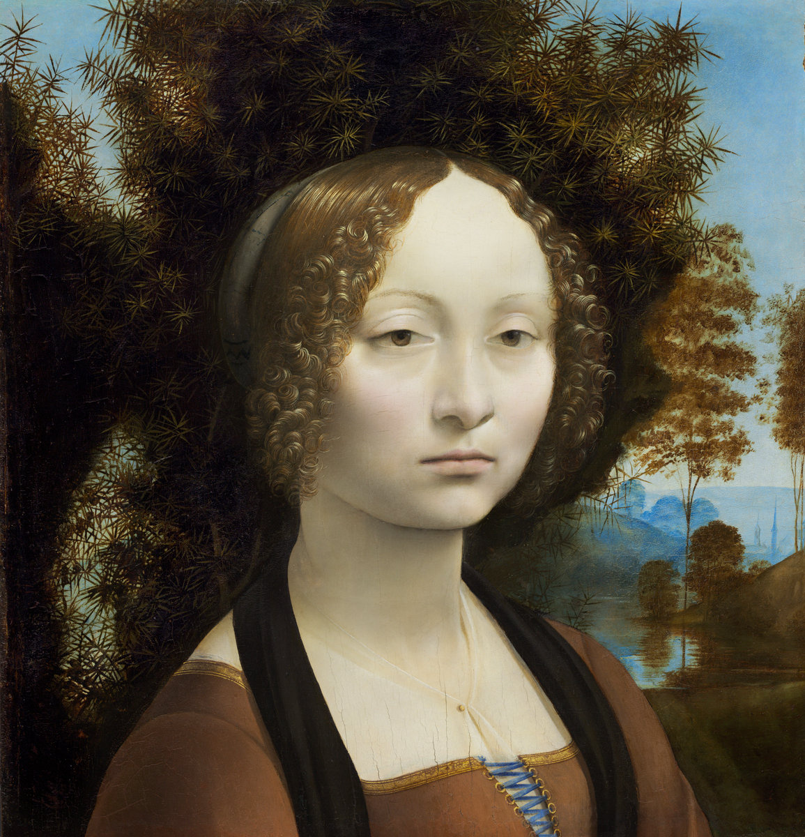 Leonardo da Vinci. Portrait of Ginevra de Benchi