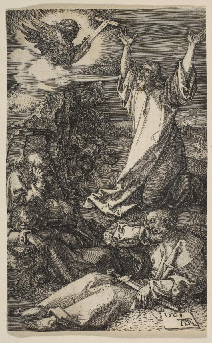 """Альбрехт Дюрер. Христос на горе Елеонской. Из цикла """"Страсти Христовы"""""""