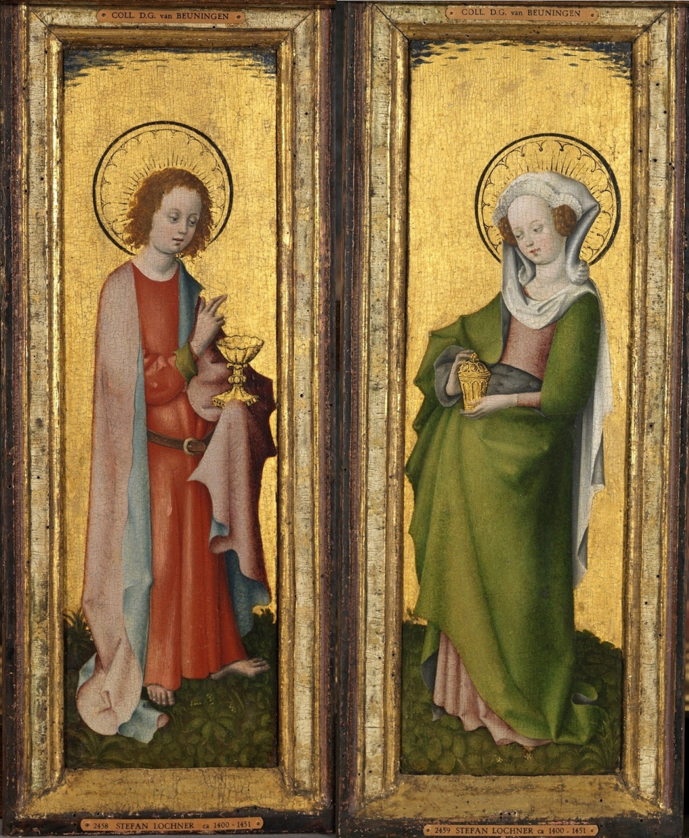 Stefan Lochner. Saint John the Theologian + Saint Mary Magdalene. 1445-1450 45 x 14.8 each