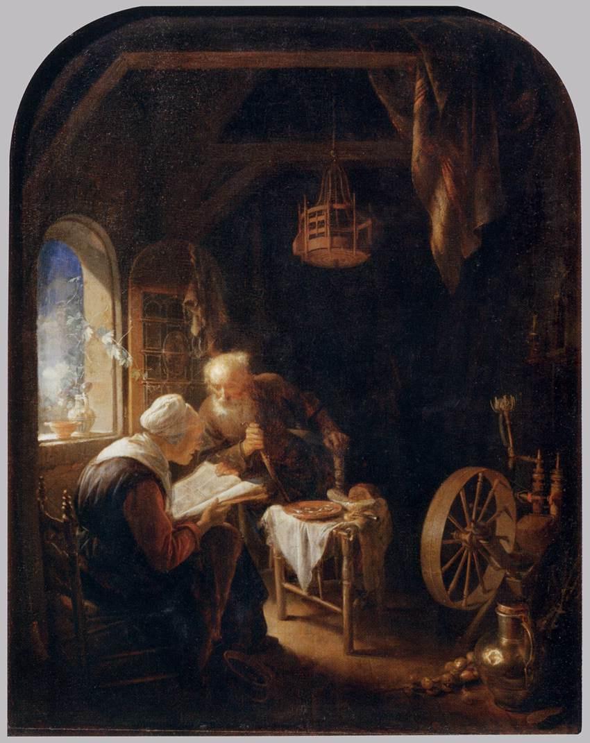 Геррит (Герард) Доу. Урок из Библии, или Анна и Товит
