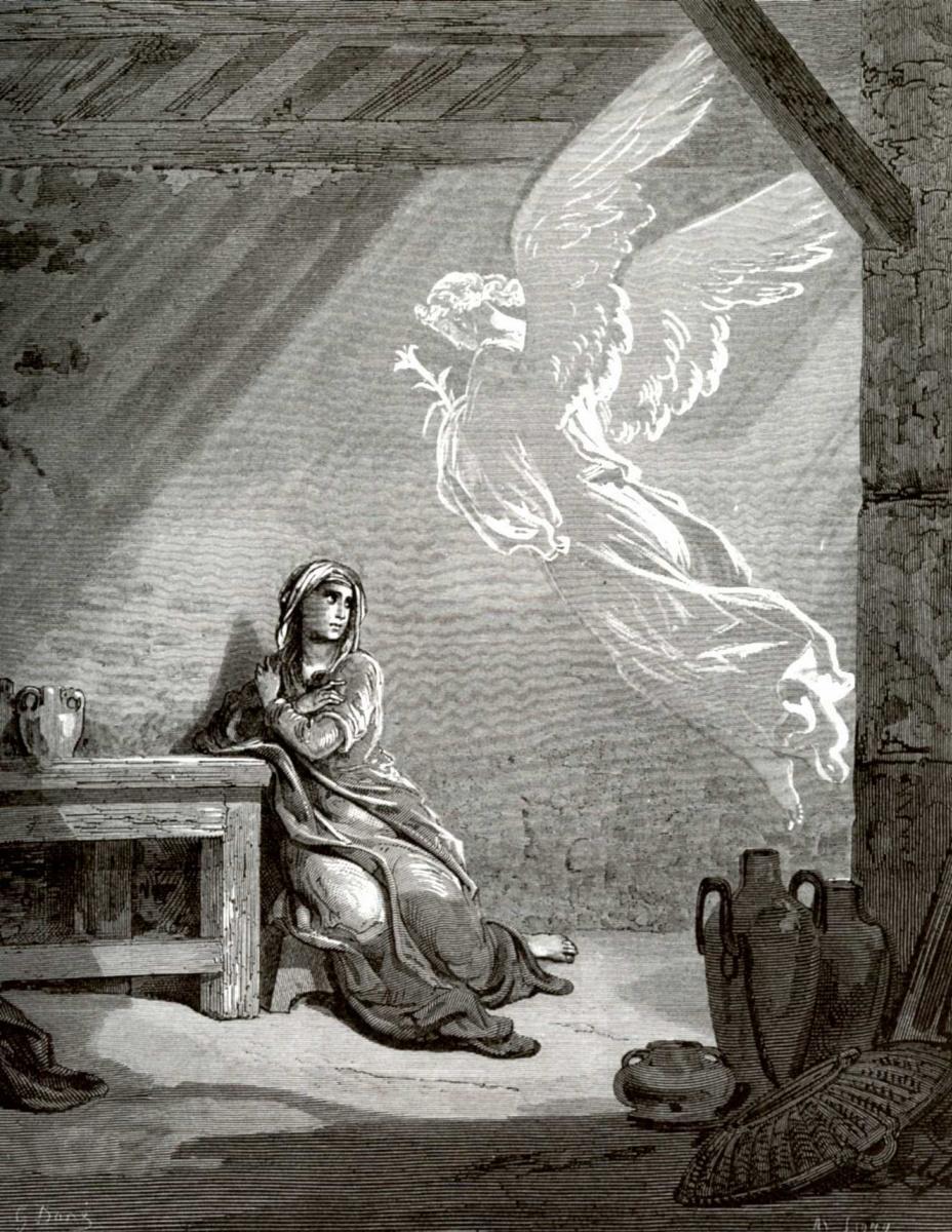 Поль Гюстав Доре. Иллюстрация к Библии: Благовещение