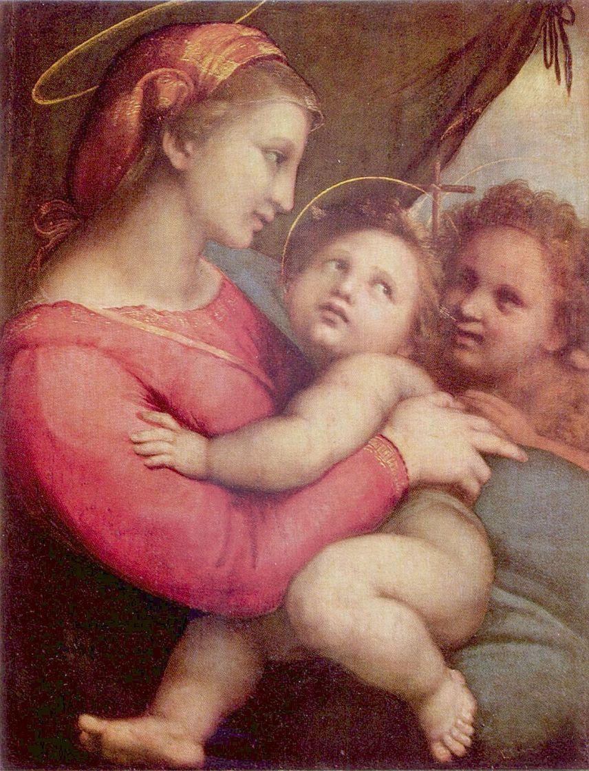 Рафаэль Санти. Мадонна делла Тенда, сцена: Мария с младенцем Христом и Иоанном Крестителем