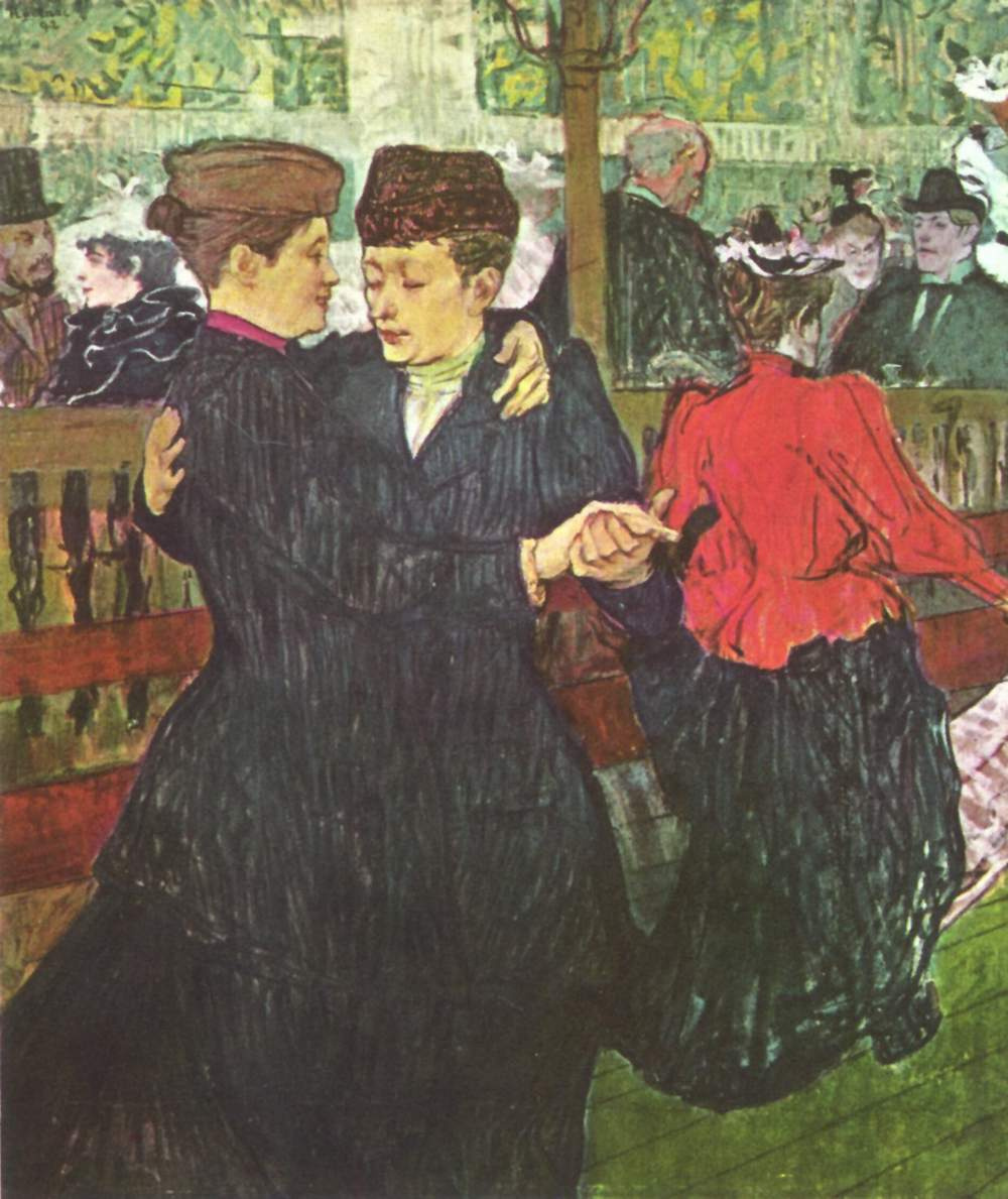 "Henri de Toulouse-Lautrec. In ""Moulin Rouge"". Two women dancing"