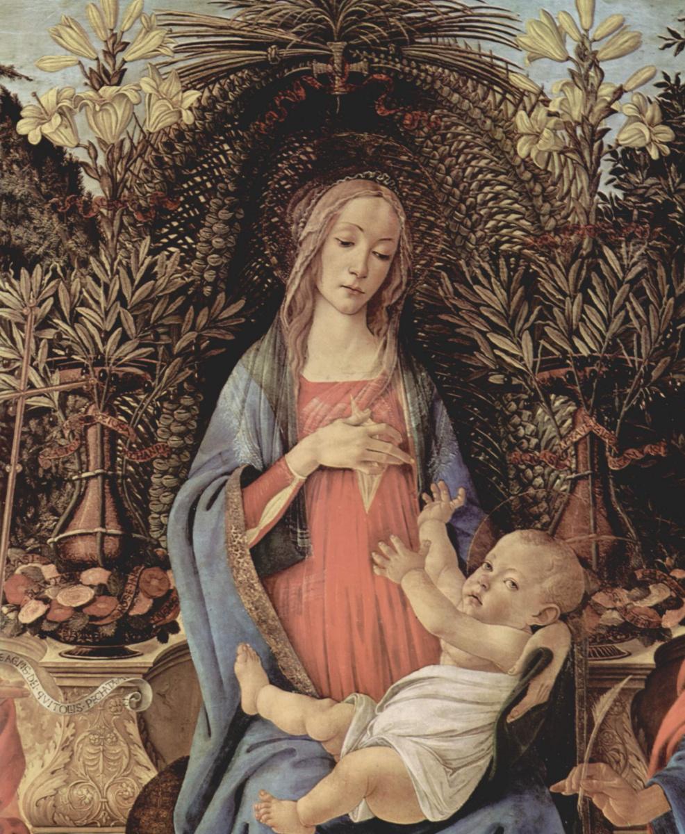Сандро Боттичелли. Алтарь Барди, Мадонна на троне, Иоанн Креститель и Иоанн Евангелист. Деталь: Мария и младенец Христос