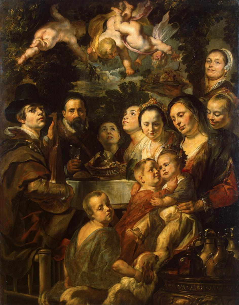 Якоб Йорданс. Автопортрет с родителями, братьями и сестрами