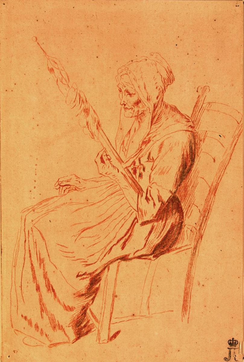 Антуан Ватто. Старая женщина с прялкой