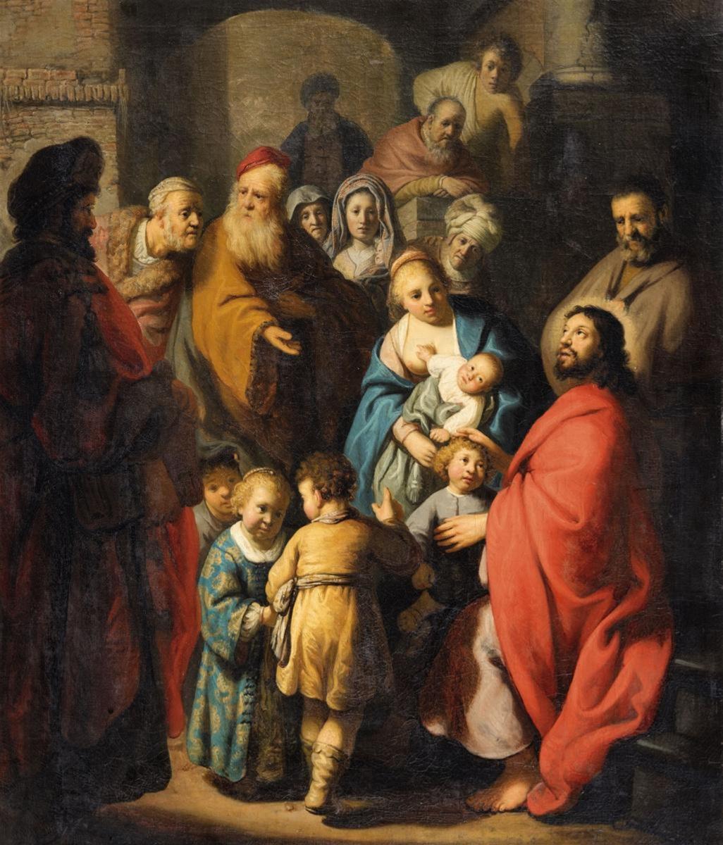 Rembrandt Harmenszoon van Rijn. Let the Little Children Come to Me