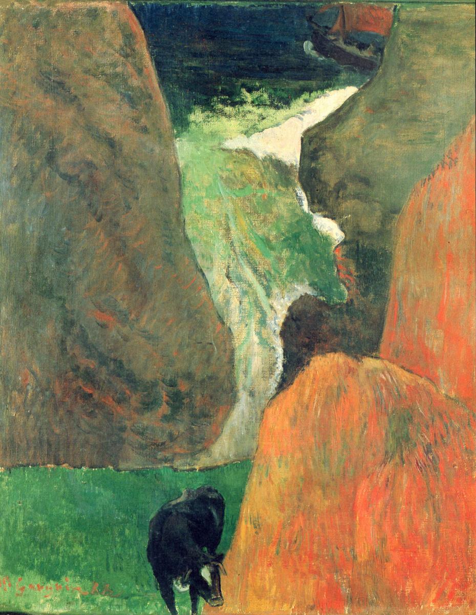 Поль Гоген. Морской пейзаж с коровой на краю утеса