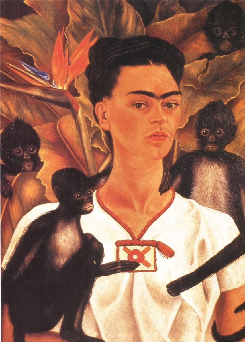 Frida Kahlo. Self portrait with monkeys