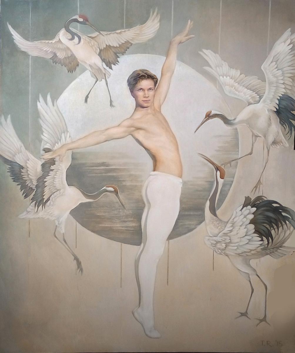 "Tatiana Rezvaya. DANCING WITH CRANES (From the series ""Male Ballet Dancers"")"