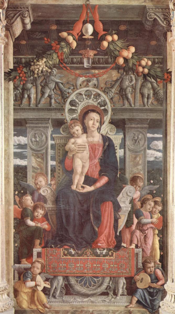 Андреа Мантенья. Алтарь церкви Сан Дзено в Вероне, триптих, центральная часть. Мадонна на троне и ангелы