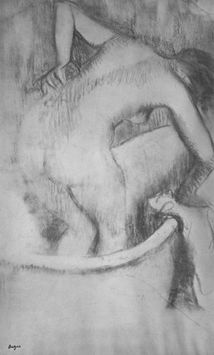 Эдгар Дега. Обнаженная, моющаяся в ванне, вид со спины