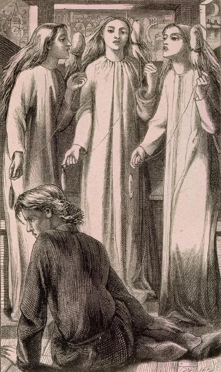 """Данте Габриэль Россетти. Три сестры. Иллюстрация для книги Уильяма Аллингема """"История любви и две серии дневных и ночных песен"""""""