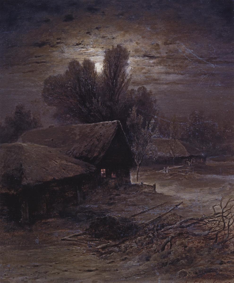 Alexey Savrasov. Moonlight night in village (Winter night)