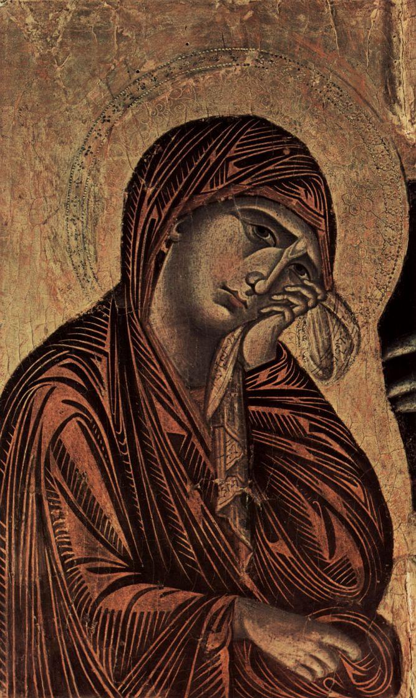 Ченни ди Пепо Чимабуэ. Распятие, тондо: Благославляющий Христос, Распятие: Мария и Иоанн, деталь: Мария