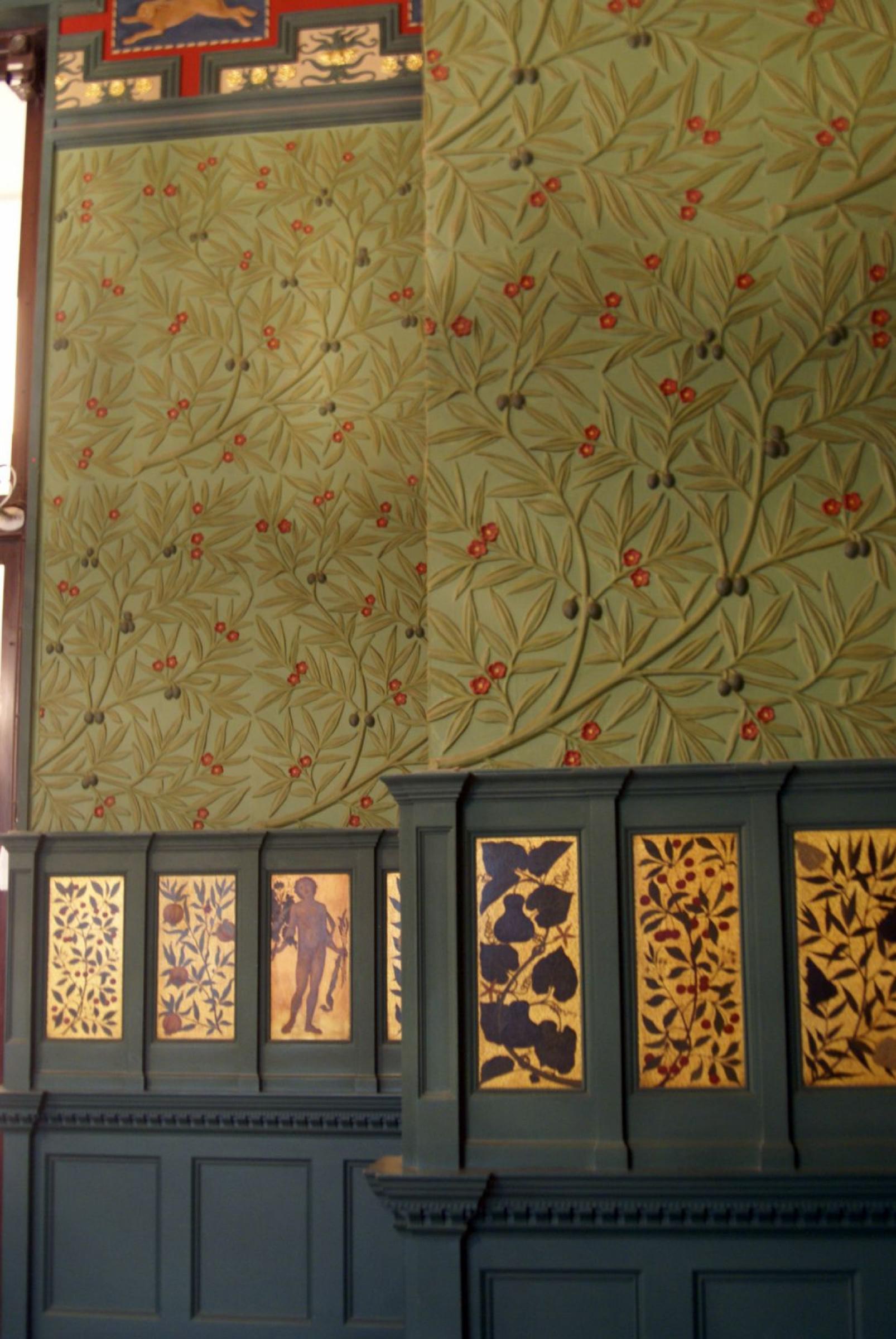 William Morris.  Intérieur de la chambre Morris, Londres.  Mur