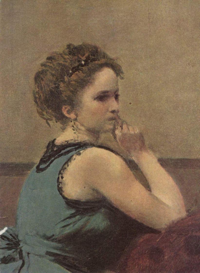 Камиль Коро. Женщина в голубом. Деталь