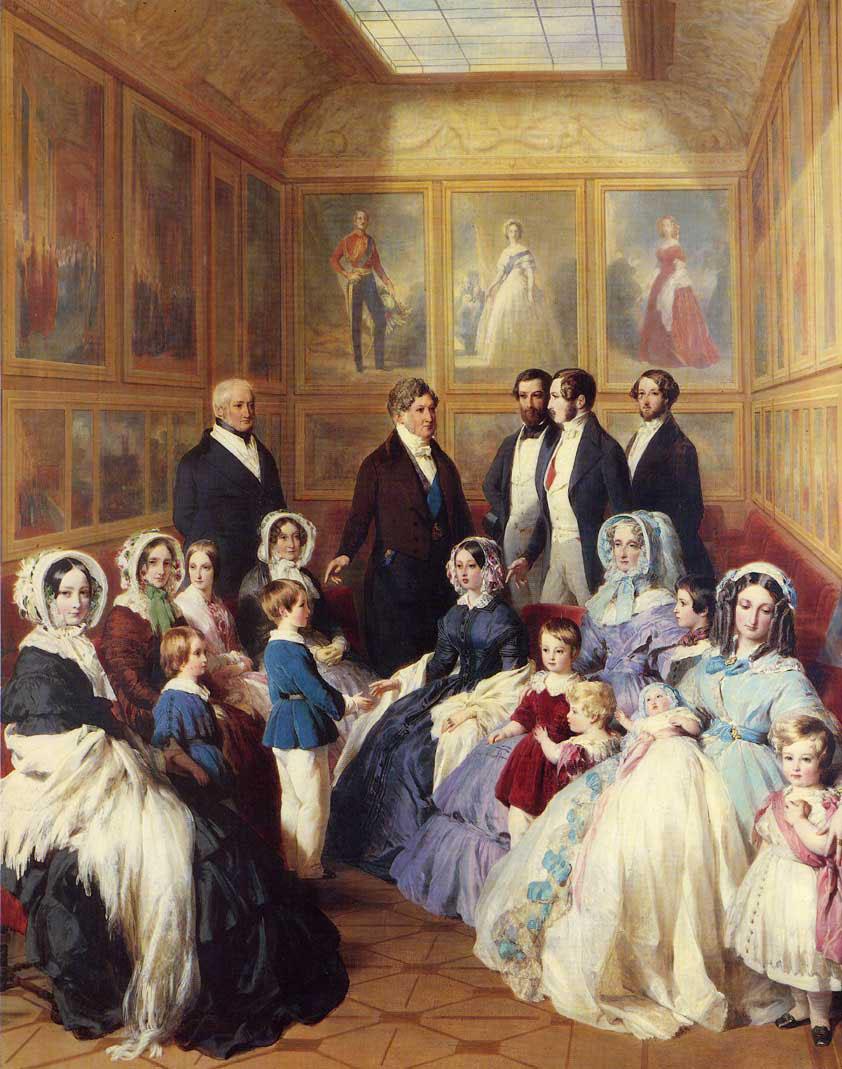 Франц Ксавер Винтерхальтер. Королева Виктория и принц Альберт с семьей короля Луи-Филиппа в замке Дью