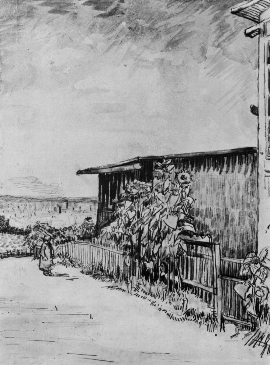 Винсент Ван Гог. Садовый дом с подсолнухами