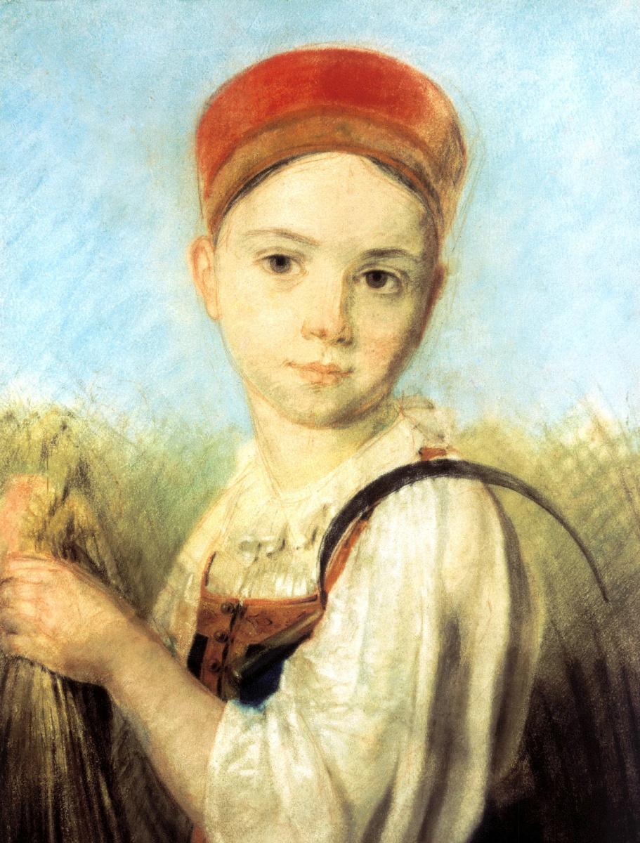 Алексей Гаврилович Венецианов. Крестьянская девушка с серпом во ржи