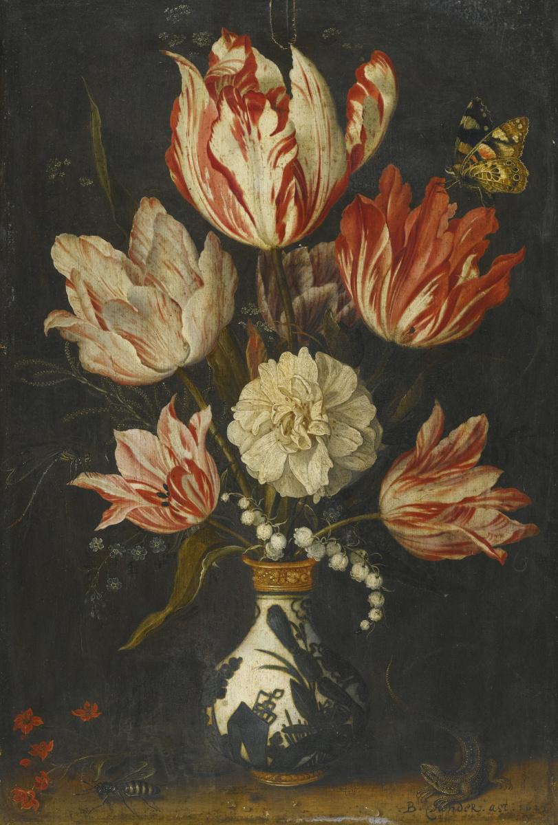 Балтазар ван дер Аст. Натюрморт с пестрыми тюльпанами в вазе и бабочкой