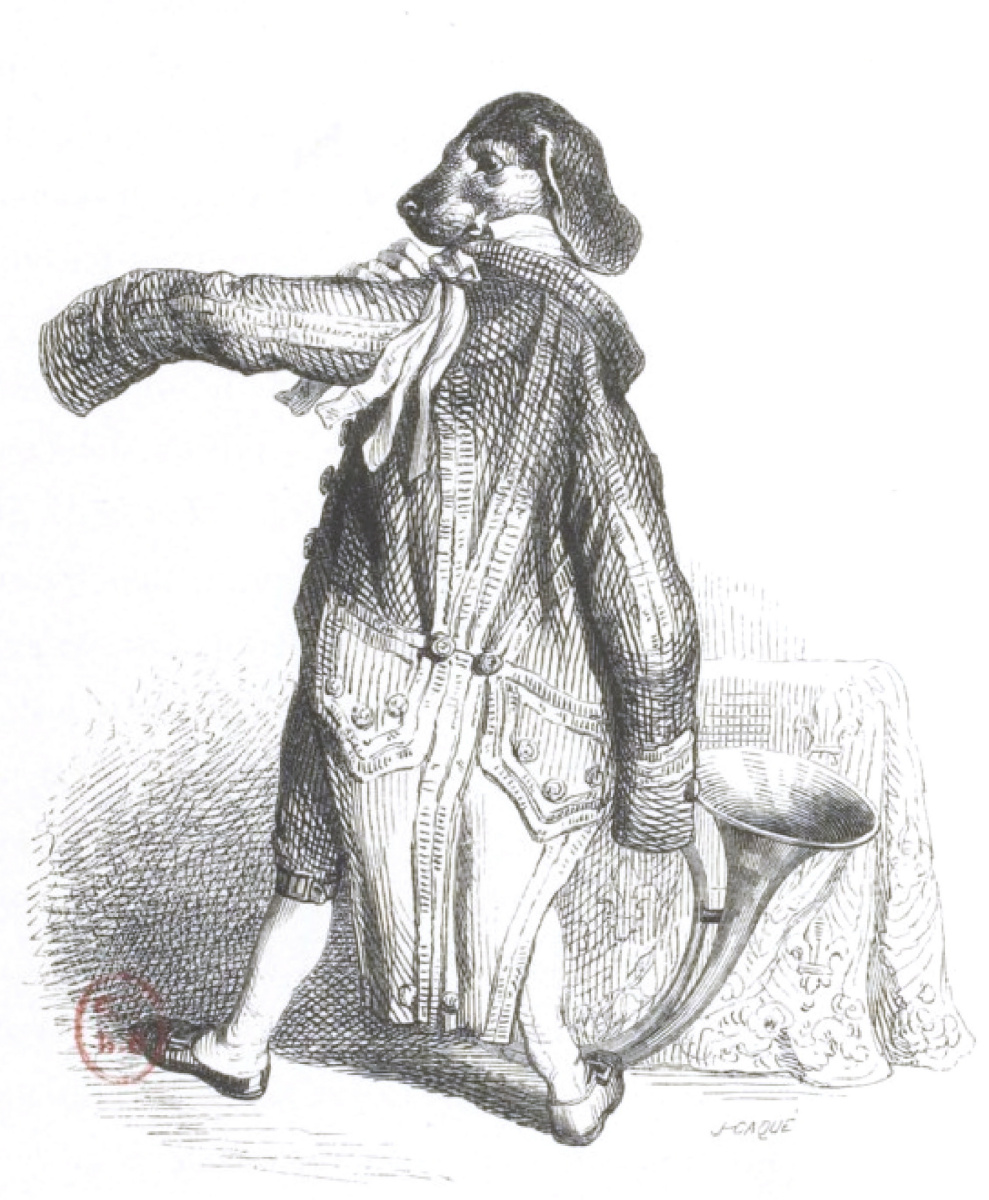 """Jean Inias Isidore (Gerard) Granville. The servant of man, the footman of the king of hunters. """"Scenes of public and private life of animals"""""""