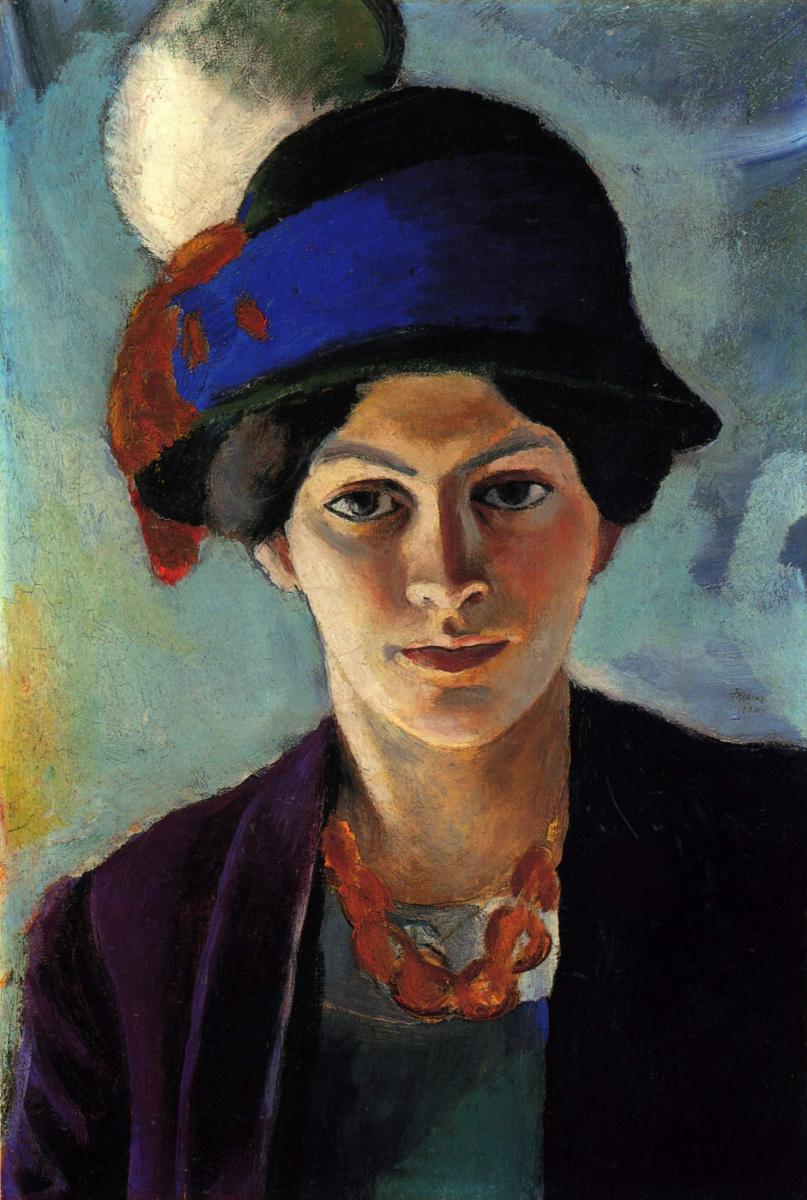 Август Маке. Портрет жены художника в шляпке