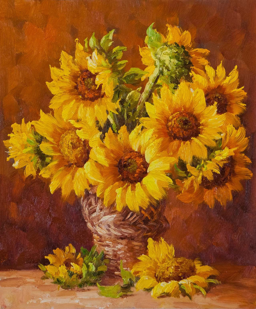Andrzej Vlodarczyk. A bouquet of sunflowers in a large basket