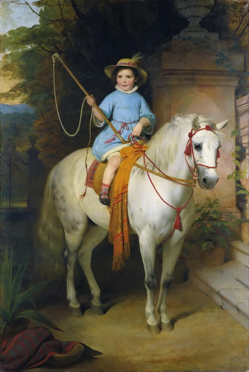 Фридрих фон Амерлинг. Портрет принца Иоганна II Лихтенштейн на белом коне.  1845