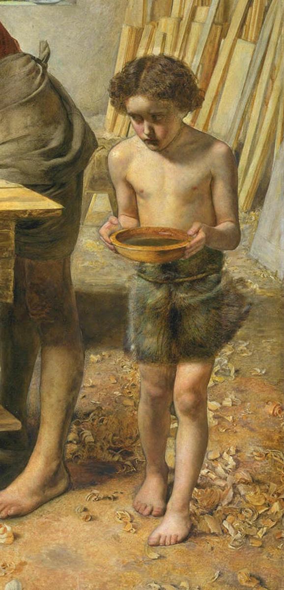 Джон Эверетт Милле. Христос в доме своих родителей. Фрагмент. Юный Иоанн Креститель с чашей