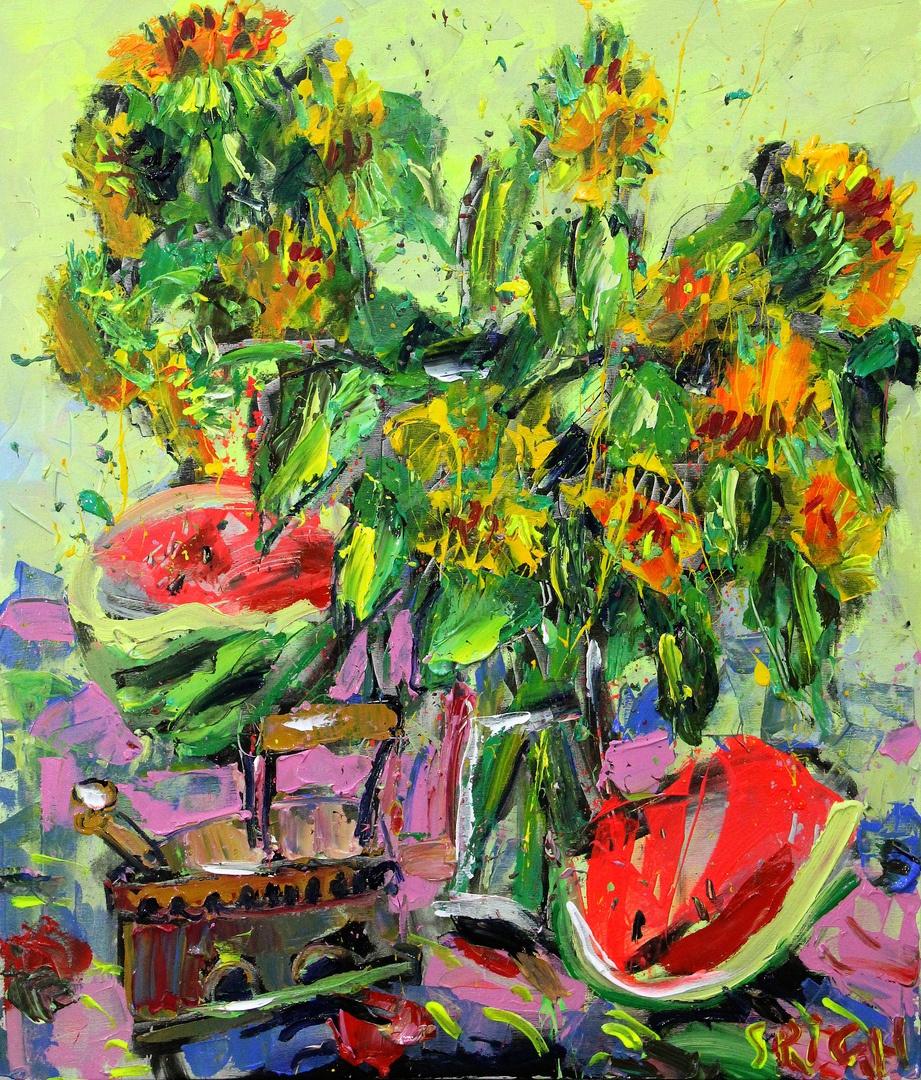 Ilya Pavlovich Spichenkov. Sunflowers. Morning
