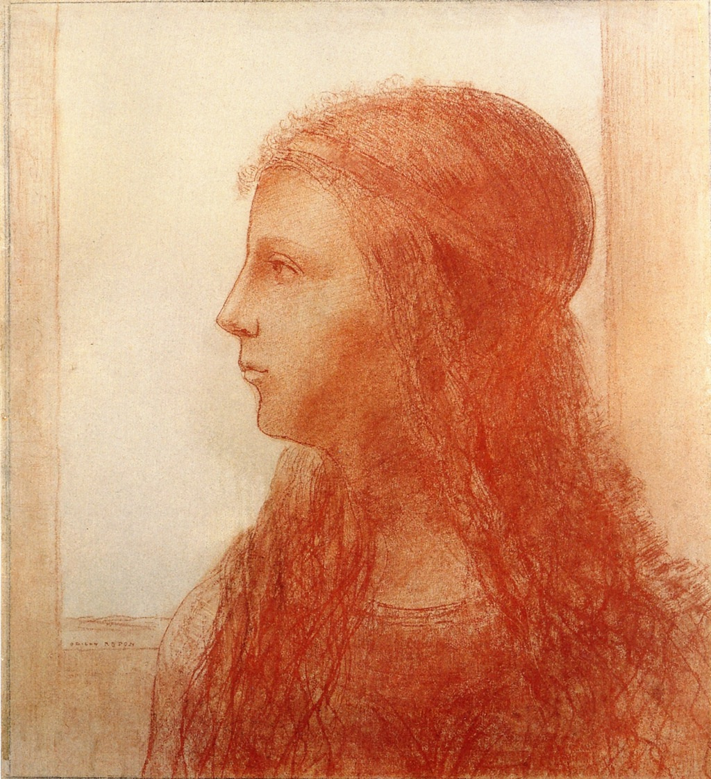 Odilon Redon. The head of a young girl