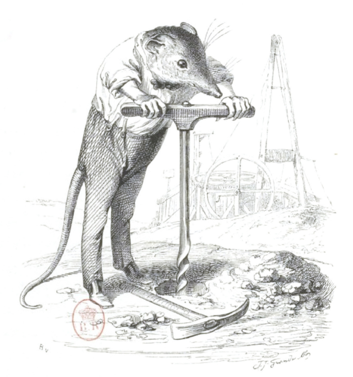 """Jean Inias Isidore (Gerard) Granville. Fighting the stove. """"Scenes from the public and private life of animals"""""""