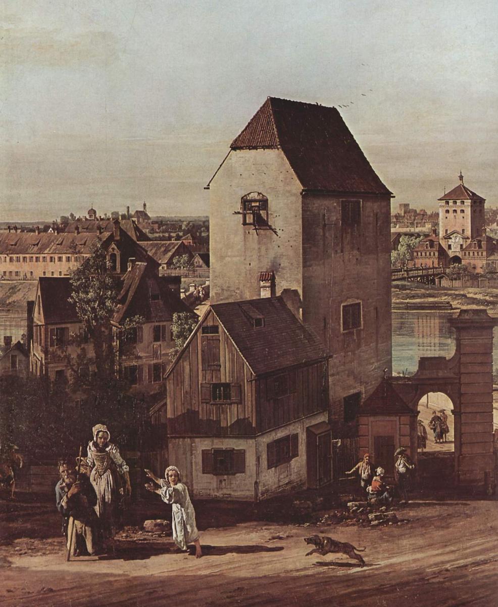 Джованни Антонио Каналь (Каналетто). Вид Мюнхена, мостовые ворота, фрагмент
