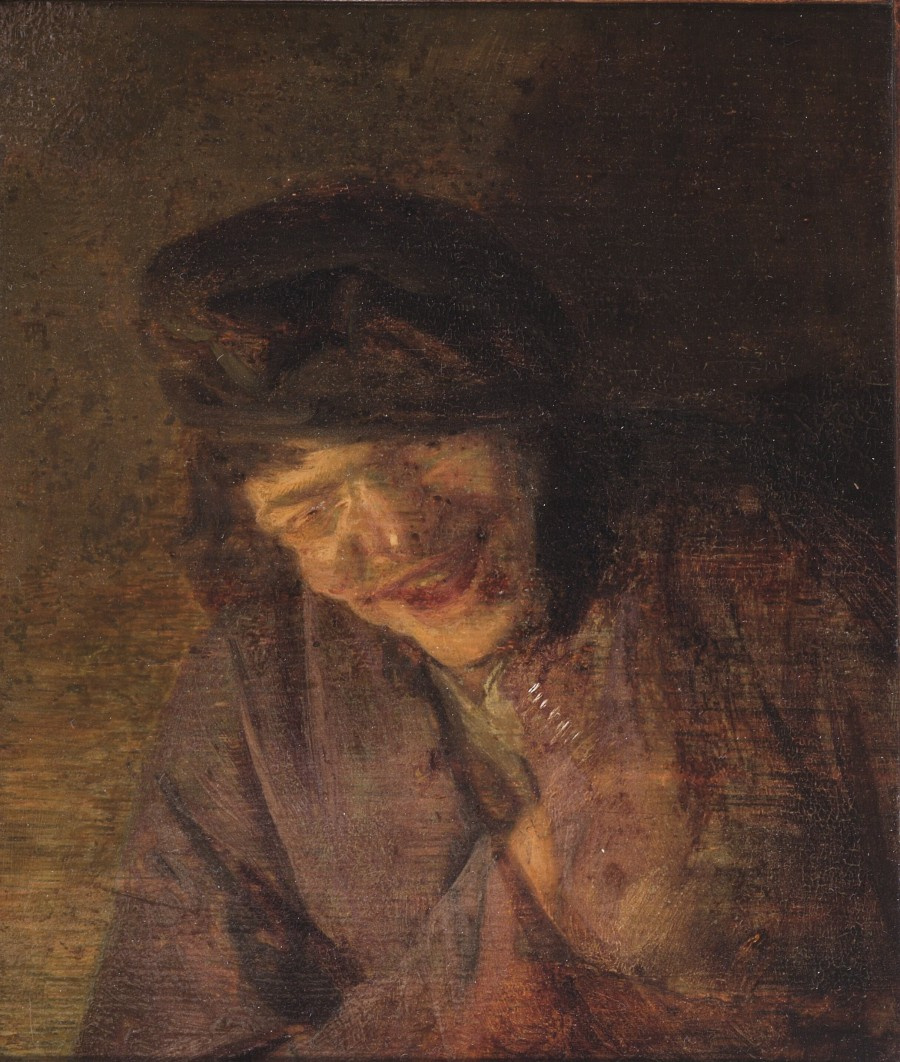 Adrian Jans van Ostade. Portrait of a laughing peasant