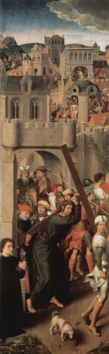 Ганс Мемлинг. Алтарный триптих церкви Святой Марии в Любеке, левая створка: Несение креста