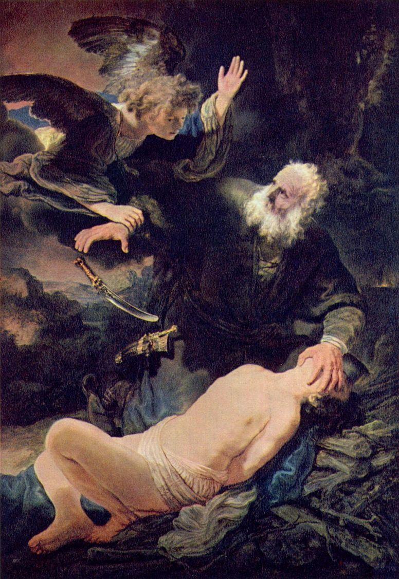 Рембрандт Ван Рейн. Ангел предотвращает жертвоприношение Исаака