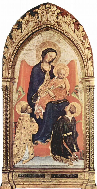 Джентиле да Фабриано. Мадонна со св. Лаврентием и св. Юлианом