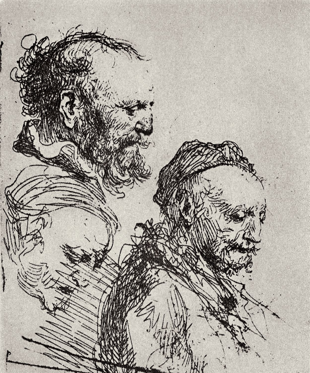Rembrandt Harmenszoon van Rijn. Three sketches of the old man's head