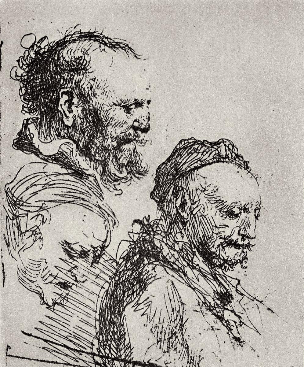 Рембрандт Харменс ван Рейн. Три эскиза головы старика