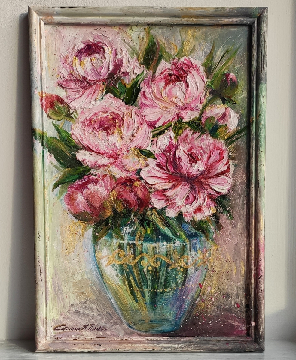 "Anastasia Kirs. Bouquet of peonies ""cardboard / oil / golden acrylic 22x32 2020"