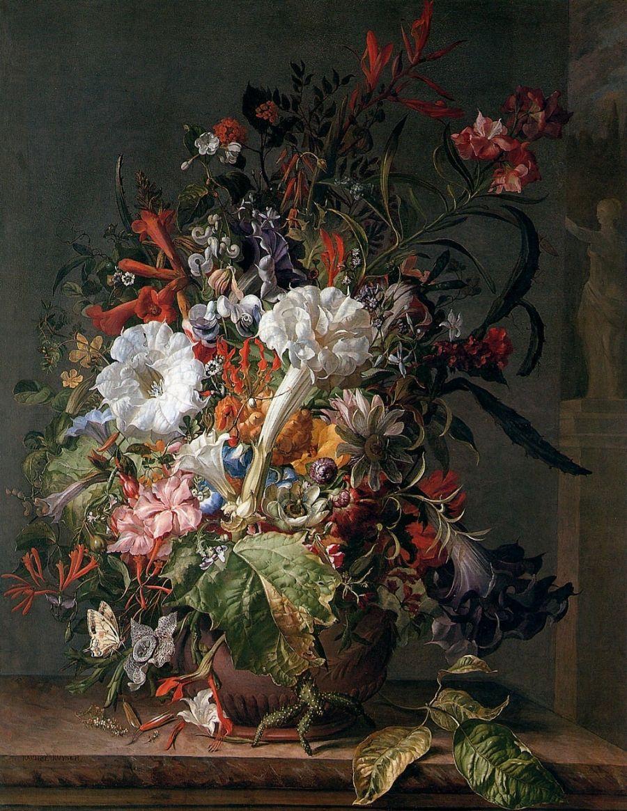 Рашель Рюйш. Цветы в вазе