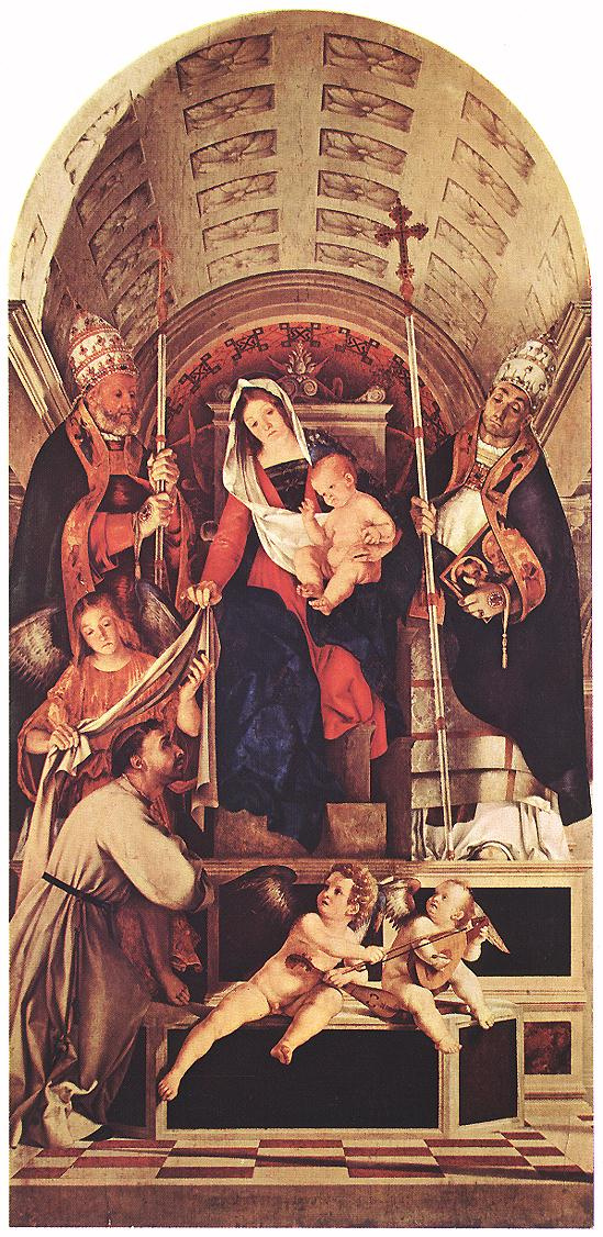 Лоренцо Лотто. Мадонна с младенцем и святыми