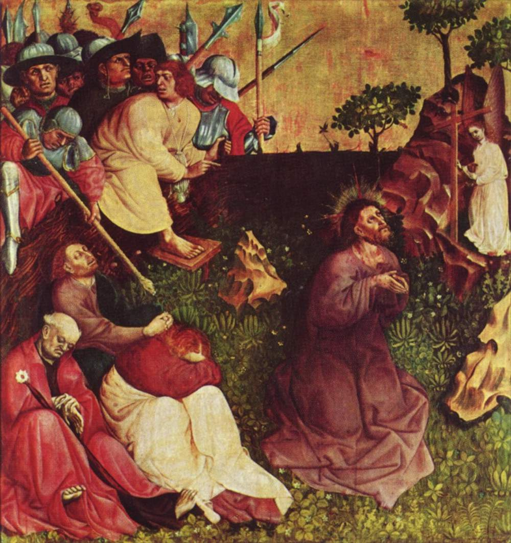 Hans Mulcher. Altarpiece of the Passion from Warzecha, left inner wing, scene above. Christ on the mount of olives