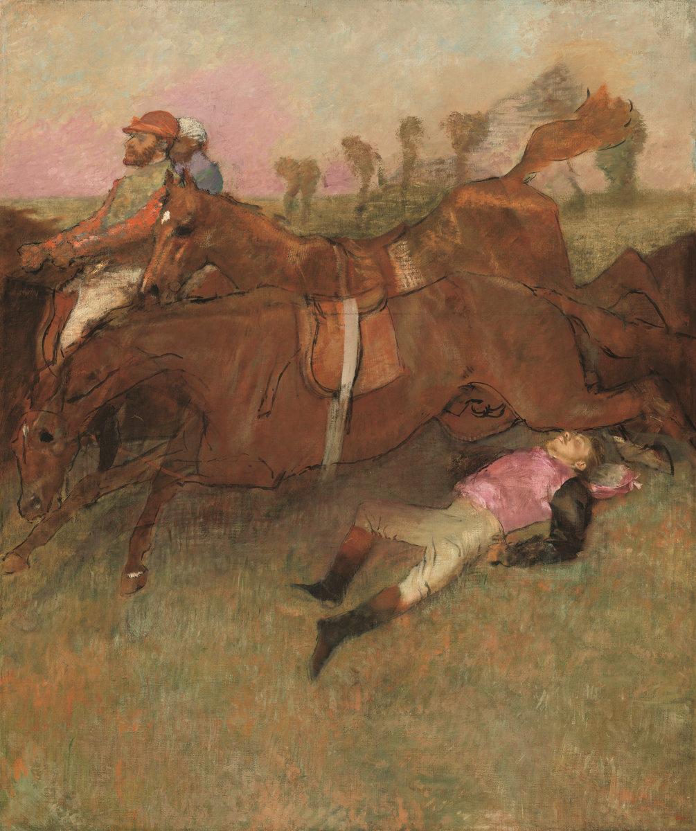 Edgar Degas. The scene at the races: the fallen jockey