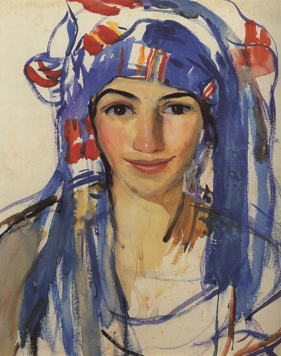 Зинаида Евгеньевна Серебрякова. Автопортрет в шарфе