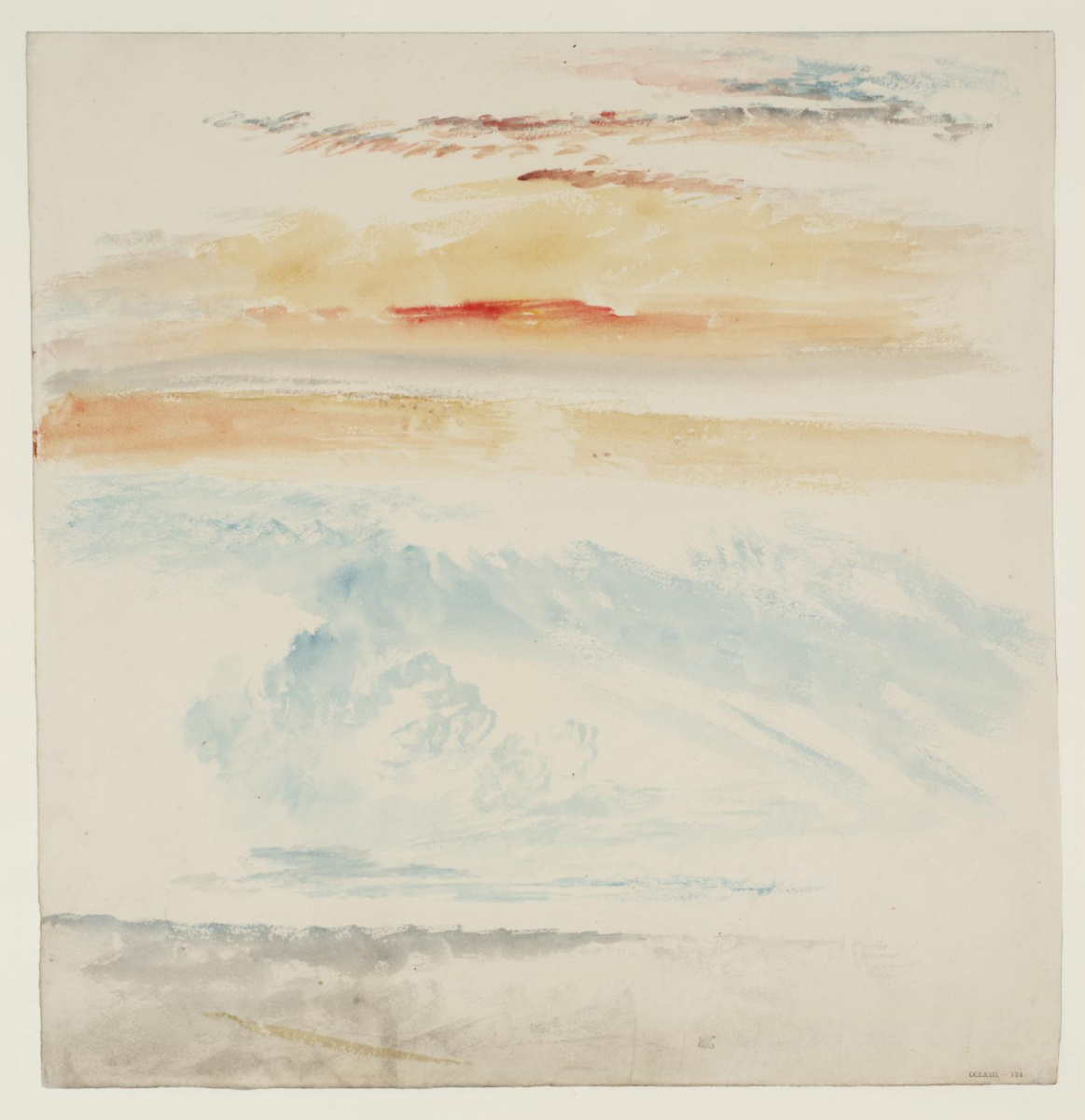 Joseph Mallord William Turner. Two sketches of the sky above the landscape or sea, by day and at sunset or at dawn