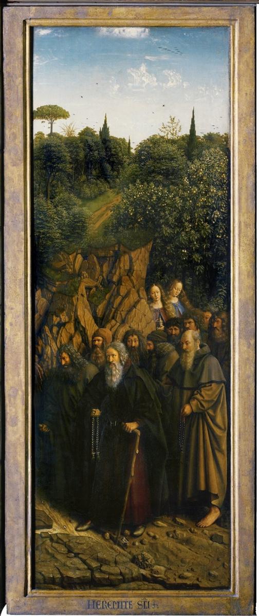 Ян ван Эйк. Гентский алтарь. Шествие отшельников (фрагмент)
