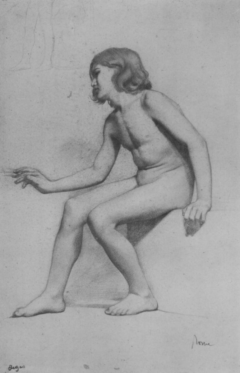 Эдгар Дега. Сидящий обнаженный мальчик